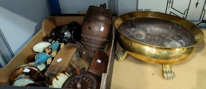 A 19th century brass bowl on prow feet; 2 old wood planes, china & decorative items