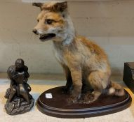 A vintage taxidermy fox cub on stand and a bronzed group Adam and Eve
