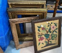 A needlework firescreen and similar picture; 3 heavy gilt picture frames & a standard lamp