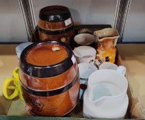 2 19th Century Doulton Lambeth pottery barrels; a selection of commemorative mugs & a large