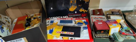 Two boxes of late 20th century Meccano; a selection of other toys; games; etc.
