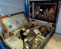 An Oriental musical red lacquer photo album & decorative items