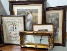 Three Edwardian colour prints; a needlework sampler;