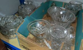 A selection of cut and other glassware