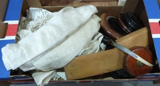 A box of textiles, Chinese pot stands etc.