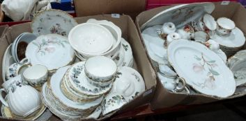 Two boxes of tea and dinnerware