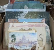 A quantity of unframed oil paintings and watercolour drawings by the late Ludlow painter John W.