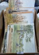 A collection of unframed watercolour drawings by John W. Gough of Ludlow