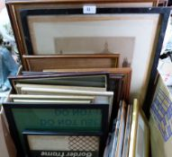 A quantity of pictures and frames