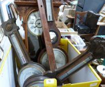 Three wall barometers, (all A.F.) and an oak wall clock