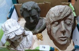 Two pottery heads and a terracotta bust