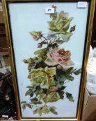 A study of roses, oils on ceramic plaque. 27' x 14'
