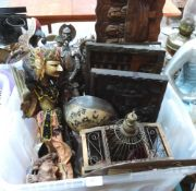 A box of ethnic treen carvings and metalware, the lot to include an eastern puppet