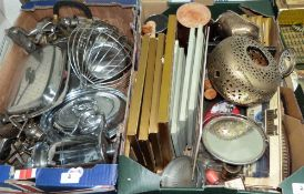 Four boxes of metalware and sundries