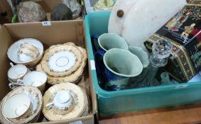 A part tea service and a box of sundries