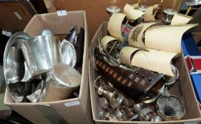 Two boxes of plate and sundries