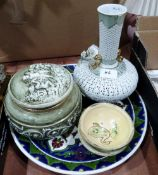 A reticulated vase; an Italian ceramic box; a Turkish dish and two small earthenware studio