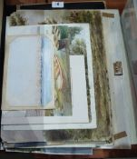 A folder of watercolours and drawings. 19th - 20th century