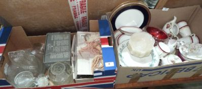 Five boxes of ceramics and glassware