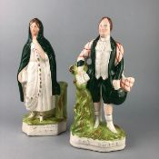 A PAIR OF FLATBACK FIGURES ALONG WITH A MAUCHLINE BOX AND TRAVEL DOMINOES