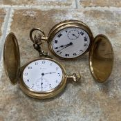 A LOT OF TWO GOLD PLATED POCKET WATCHES