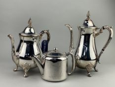 A SILVER PLATED TEA AND COFFEE SERVICE AND OTHER ITEMS
