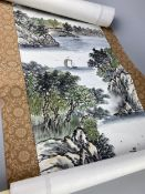 A CHINESE HAND PAINTED SCROLL,