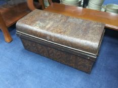 A VINTAGE LACQUERED METAL TRUNK