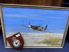 AN OIL PAINTING OF AN RAF PLANE BY H.R. MITCHELL