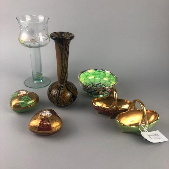 Lot 137 - A MALTESE GLASS VASE ALONG WITH A SNUFF BOTTLE AND MIXED CERAMICS