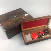 A ROSEWOOD CASKET, TEAK CASKET AND OTHER COLLECTABLES