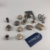 A SILVER MINIATURE PENNY FARTHING AND OTHER SILVER INCLUDING PILL BOXES