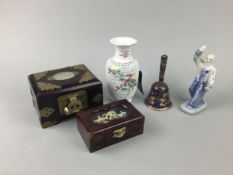A 20TH CENTURY JAPANESE PORCELAIN RETICULATED VASE AND OTHER ASIAN ITEMS