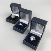 A COLLECTION OF SILVER GEM SET RINGS