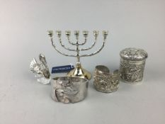 A CONTINETAL SILVER BANGLE ALONG WITH OTHER JEWELLERY AND EASTERN WARES