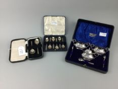 A SET OF SIX SILVER COFFEE SPOONS, JAM SPOONS AND A PLATED CRUET SET