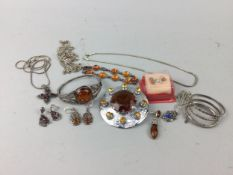 A LOT OF SILVER AND OTHER COSTUME JEWELLERY