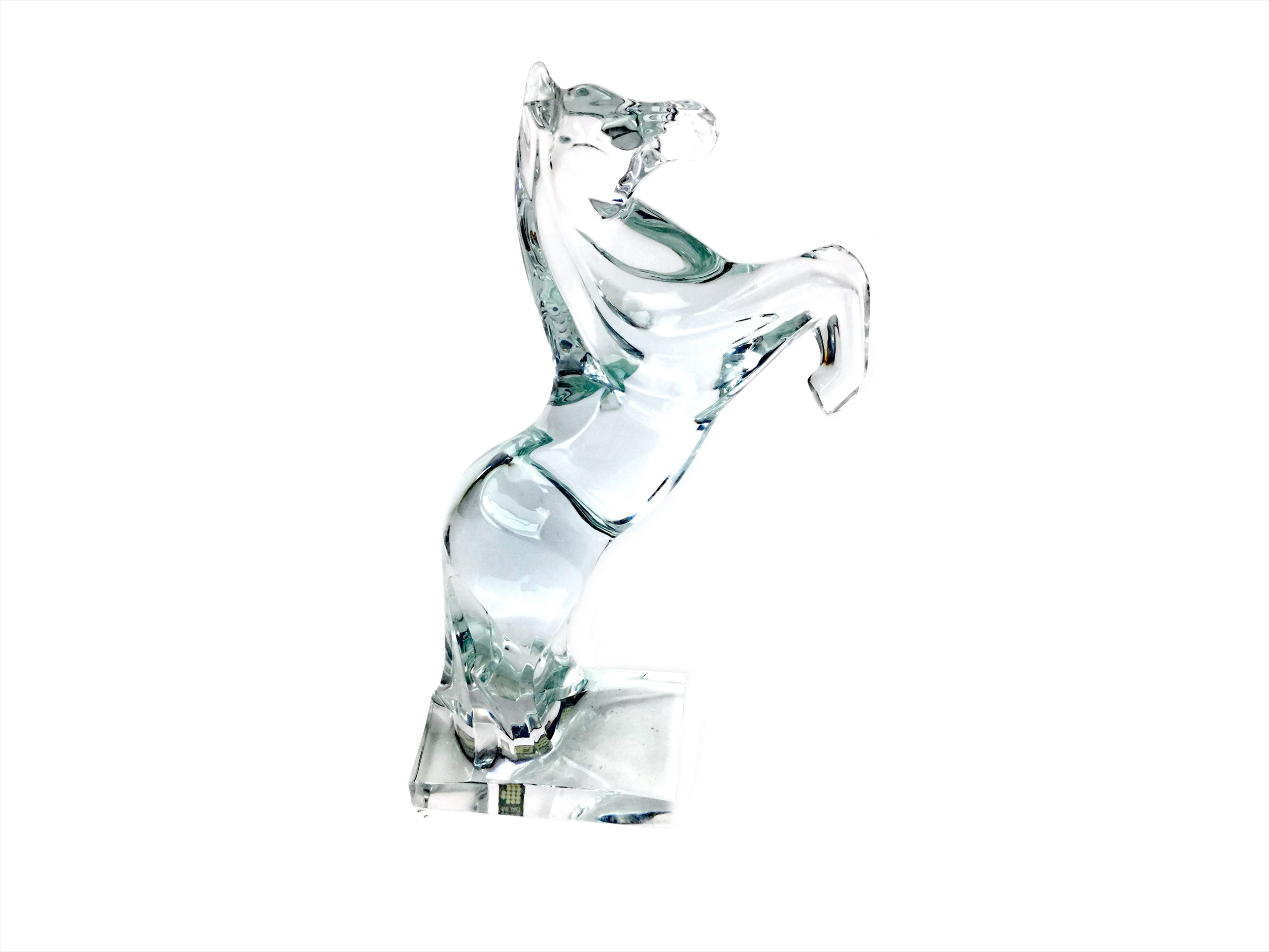 Lot 1344 - A DAUM LEAD GLASS HORSE