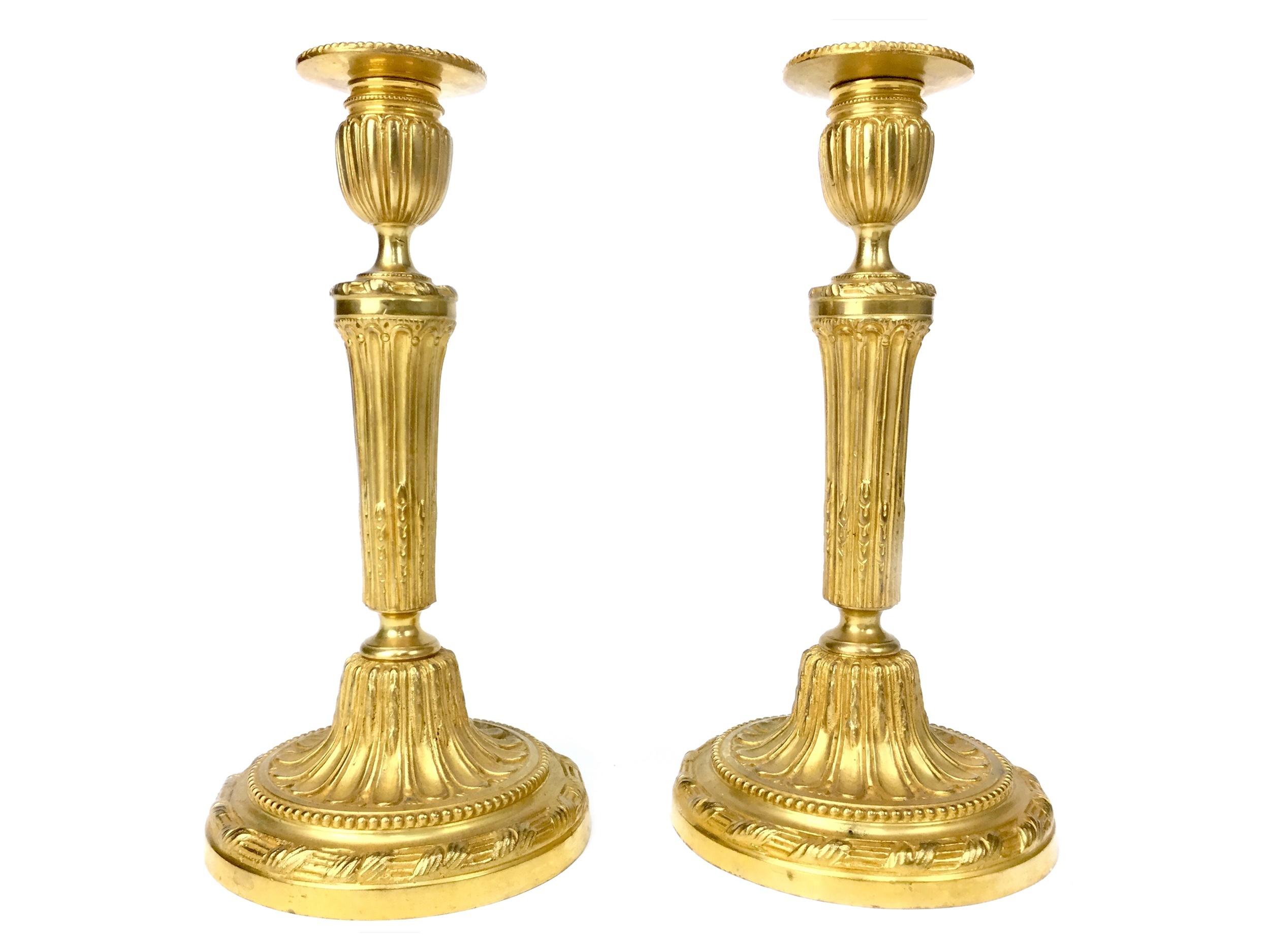 Lot 1629 - A PAIR OF VICTORIAN ORMOLU TABLE CANDLESTICKS