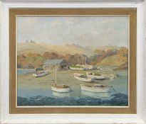 CORNISH COVE WITH BEACHED BOATS, AN OIL BY HUGH E RIDGE