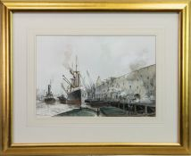 DOCKSIDE, STEAMERS, A WATERCOLOUR BY PETER CECIL KNOX