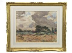 HARVESTING SCENE, A WATERCOLOUR BY ARTHUR DAVID MCCORMICK