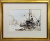 EMBARKING - THE DOCKSIDE, A WATERCOLOUR BY PETER KNOX