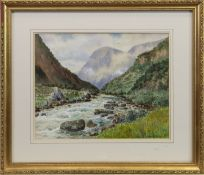 NORWEGIAN FJORD, A WATERCOLOUR BY FREDERICK R FITZGERALD