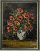 FLORAL STILL LIFE IN CERAMIC, AN OIL BY HELEN PHYLLIS SCOTT