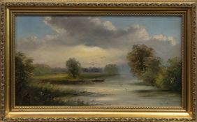 BOAT ON THE LOWER RIVER AVON, AN OIL BY GEORGE COLE