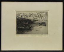 HARBOUR SCENE, AN ETCHING BY GERTRUDE HAYES