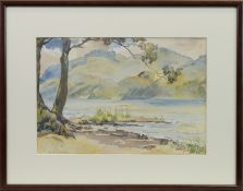 LANDSCAPE WITH LOCH, A WATERCOLOUR BY ISOBEL HOTCHKIS