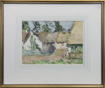 IN THE GARDEN, A WATERCOLOUR BY ANNA DIXON