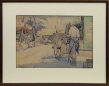 BUSY STREET SCENE, A WATERCOLOUR BY ISOBEL HOTCHKIS